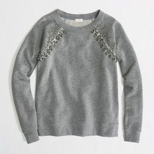 J Crew Factory Jeweled Raglan Sweatshirt